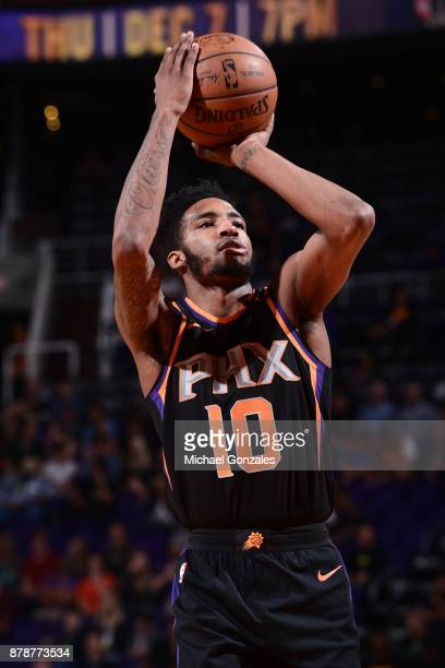 Derrick Jones Jr #10 of the Phoenix Suns shoots the ball against the New Orleans Pelicans on November 24 2017 at Talking Stick Resort Arena in...