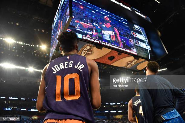 Derrick Jones Jr #10 of the Phoenix Suns waits for his score during the Verizon Slam Dunk Contest on State Farm AllStar Saturday Night as part of the...