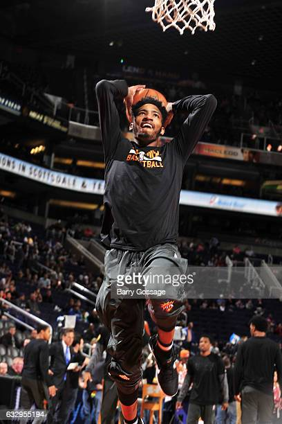 Derrick Jones Jr #10 of the Phoenix Suns warms up before the game against the Denver Nuggets on January 28 2017 at US Airways Center in Phoenix...