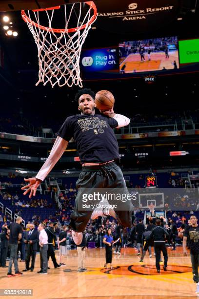 Derrick Jones Jr #10 of the Phoenix Suns warms up before the game against the Los Angeles Lakers on February 15 2017 at US Airways Center in Phoenix...