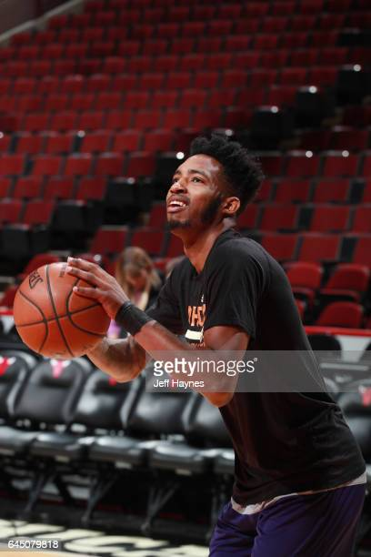 Derrick Jones Jr #10 of the Phoenix Suns warms up before the game against the Chicago Bulls on February 24 2017 at the United Center in Chicago...