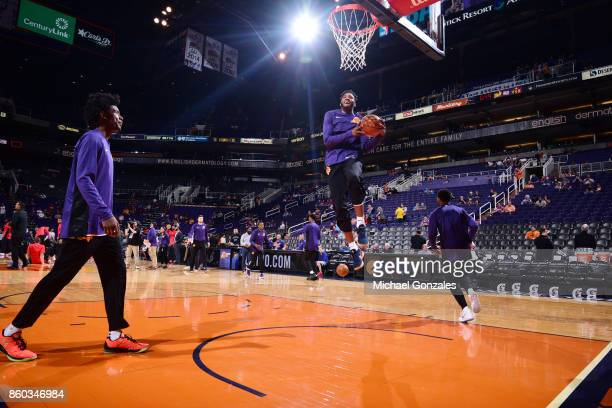 Derrick Jones Jr #10 of the Phoenix Suns warms up before the preseason game against the Portland Trail Blazers on October 11 2017 at Talking Stick...