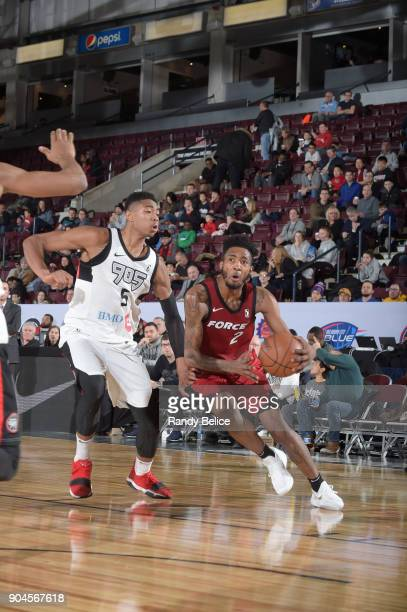 Derrick Jones Jr #2 of the Sioux Falls Skyforce handles the ball during the NBA GLeague Showcase Game 22 between the Sioux Falls Skyforce and the...