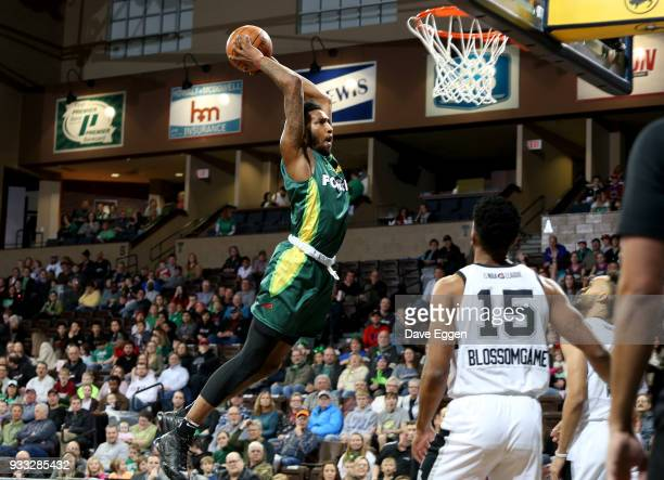 Derrick Jones Jr #2 of the Sioux Falls Skyforce slams home two points against the Austin Spurs during an NBA GLeague game on March 17 2018 at the...