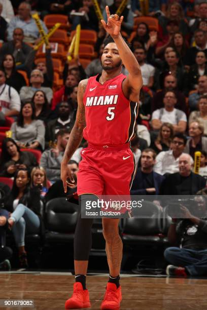 Derrick Jones Jr #5 of the Miami Heat celebrates during the game against the New York Knicks on January 5 2018 at American Airlines Arena in Miami...