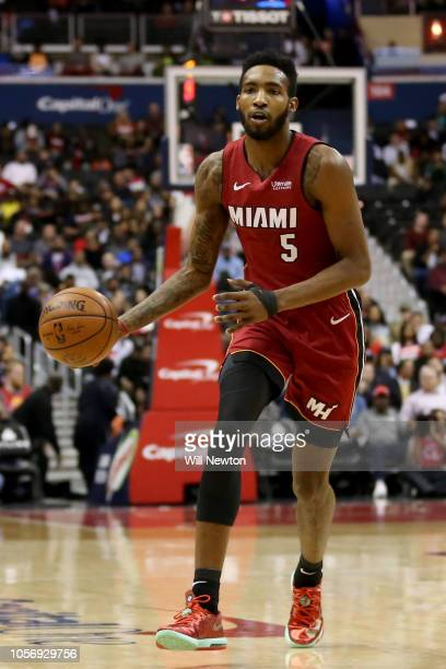 Derrick Jones Jr #5 of the Miami Heat dribbles against the Washington Wizards during the first half at Capital One Arena on October 18 2018 in...