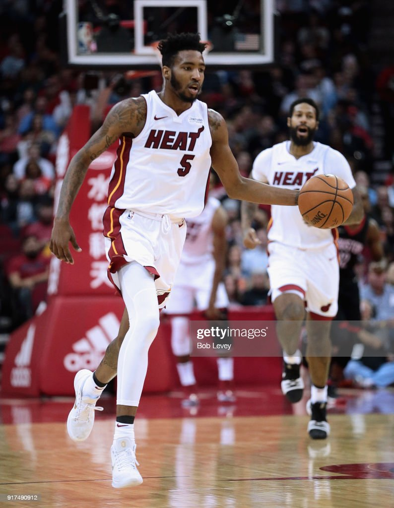 Derrick Jones Jr. #5 of the Miami Heat dribbles up court against the Houston Rocketsat Toyota Center on January 22, 2018 in Houston, Texas.
