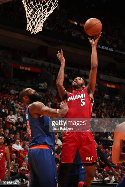 Derrick Jones Jr #5 of the Miami Heat drives to the basket against the New York Knicks on January 5 2018 at American Airlines Arena in Miami Florida...