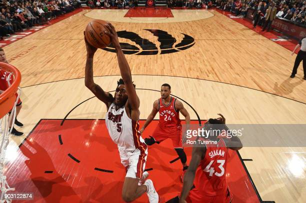 Derrick Jones Jr #5 of the Miami Heat drives to the basket against the Toronto Raptors on January 9 2018 at the Air Canada Centre in Toronto Ontario...