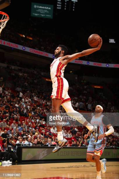 Derrick Jones Jr #5 of the Miami Heat dunks against the Atlanta Hawks on March 4 2019 at American Airlines Arena in Miami Florida NOTE TO USER User...