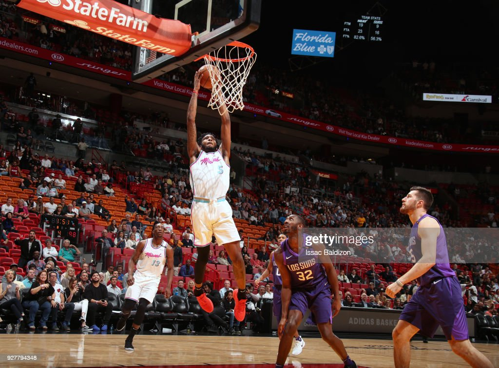 Derrick Jones Jr. #5 of the Miami Heat dunks against the Phoenix Suns on March 5, 2018 at American Airlines Arena in Miami, Florida.