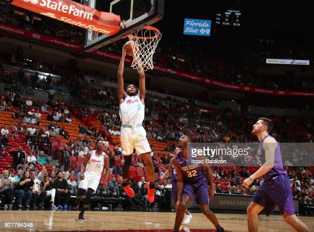 Derrick Jones Jr #5 of the Miami Heat dunks against the Phoenix Suns on March 5 2018 at American Airlines Arena in Miami Florida NOTE TO USER User...