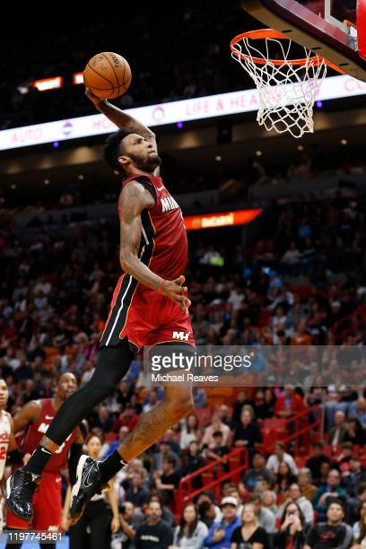 Derrick Jones Jr #5 of the Miami Heat dunks against the Portland Trail Blazers during the second half at American Airlines Arena on January 05 2020...