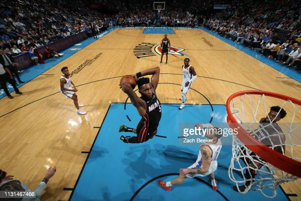 Derrick Jones Jr #5 of the Miami Heat dunks the ball against the Oklahoma City Thunder on March 18 2019 at Chesapeake Energy Arena in Oklahoma City...