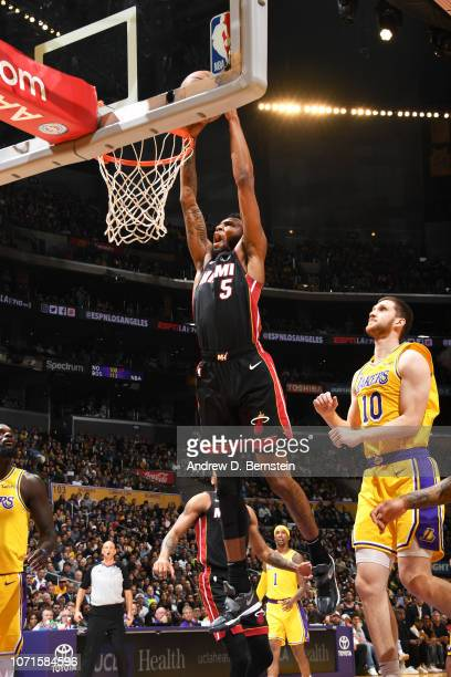 Derrick Jones Jr #5 of the Miami Heat dunks the ball against the Los Angeles Lakers on December 10 2018 at STAPLES Center in Los Angeles California...