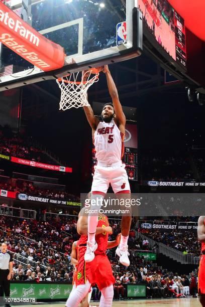Derrick Jones Jr #5 of the Miami Heat dunks the ball against the Atlanta Hawks on January 6 2019 at State Farm Arena in Atlanta Georgia NOTE TO USER...