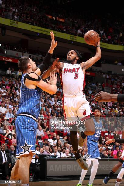 Derrick Jones Jr #5 of the Miami Heat dunks the ball against the Orlando Magic on March 26 2019 at American Airlines Arena in Miami Florida NOTE TO...