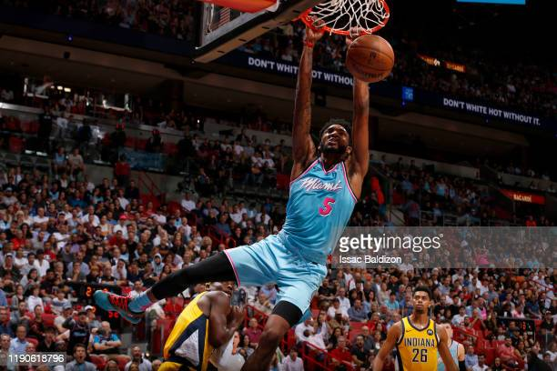 Derrick Jones Jr #5 of the Miami Heat dunks the ball against the Indiana Pacers on December 27 2019 at American Airlines Arena in Miami Florida NOTE...