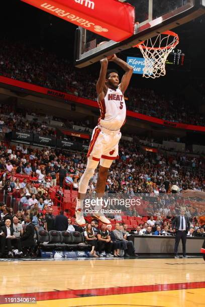Derrick Jones Jr #5 of the Miami Heat dunks the ball against the Toronto Raptors on January 2 2020 at American Airlines Arena in Miami Florida NOTE...
