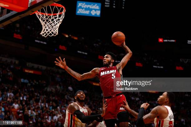Derrick Jones Jr #5 of the Miami Heat dunks the ball against the Portland Trail Blazers on January 5 2020 at American Airlines Arena in Miami Florida...