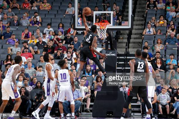 Derrick Jones Jr #5 of the Miami Heat dunks the ball against the Sacramento Kings during the 2018 Summer League at the Golden 1 Center on July 5 2018...