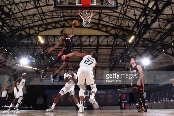 Derrick Jones Jr. #5 of the Miami Heat dunks the ball against the Utah Jazz during a scrimmage on July 25, 2020 at HP Field House at ESPN Wide World...