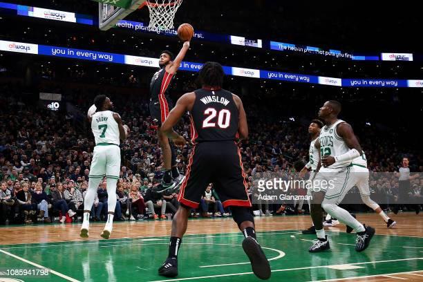 Derrick Jones Jr #5 of the Miami Heat dunks the ball during a game against the Boston Celtics at TD Garden on January 21 2019 in Boston Massachusetts...