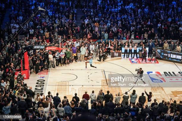 Derrick Jones Jr #5 of the Miami Heat dunks the ball during the 2020 NBA AllStar ATT Slam Dunk at United Center on February 15 2020 in Chicago...