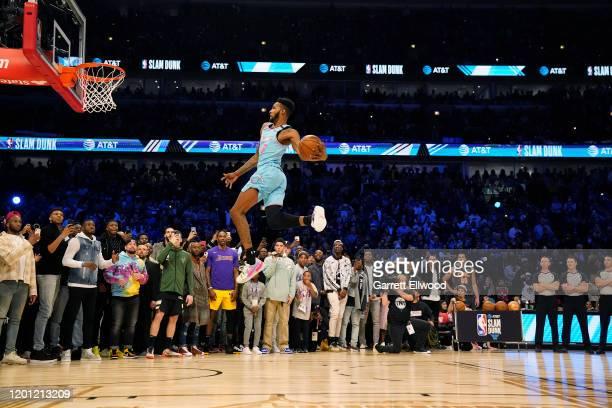 Derrick Jones Jr #5 of the Miami Heat dunks the ball during the ATT Slam Dunk as part of 2020 NBA AllStar Weekend on February 15 2020 at United...