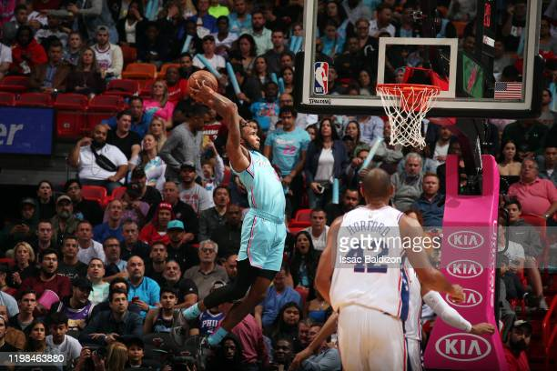 Derrick Jones Jr #5 of the Miami Heat dunks the ball during the game against the Philadelphia 76ers on February 3 2020 at American Airlines Arena in...
