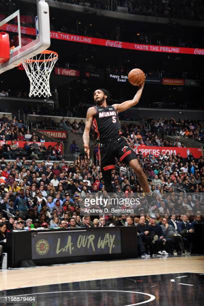 Derrick Jones Jr #5 of the Miami Heat dunks the ball during the game against the LA Clippers on February 5 2020 at STAPLES Center in Los Angeles...