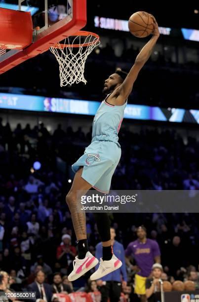 Derrick Jones Jr #5 of the Miami Heat dunks the ball in the 2020 NBA AllStar ATT Slam Dunk Contest during State Farm AllStar Saturday Night at the...