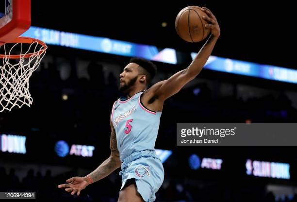Derrick Jones Jr. #5 of the Miami Heat dunks the ball in the 2020 NBA All-Star - AT&T Slam Dunk Contest during State Farm All-Star Saturday Night at...