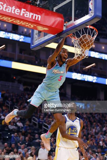 Derrick Jones Jr #5 of the Miami Heat dunks the ball in the first half against the Golden State Warriors at Chase Center on February 10 2020 in San...