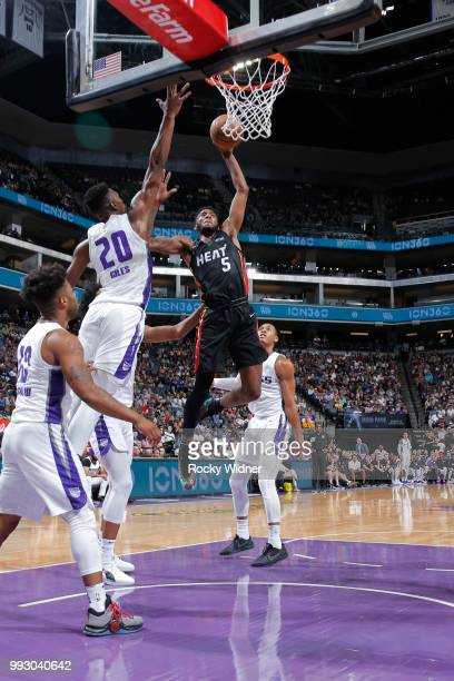 Derrick Jones Jr #5 of the Miami Heat goes to the basket against the Sacramento Kings during the 2018 Summer League at the Golden 1 Center on July 5...