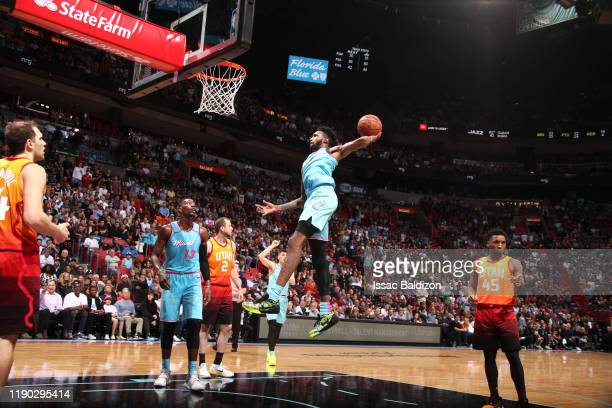 Derrick Jones Jr #5 of the Miami Heat goes up for a dunk during a game against the Utah Jazz on December 23 2019 at American Airlines Arena in Miami...