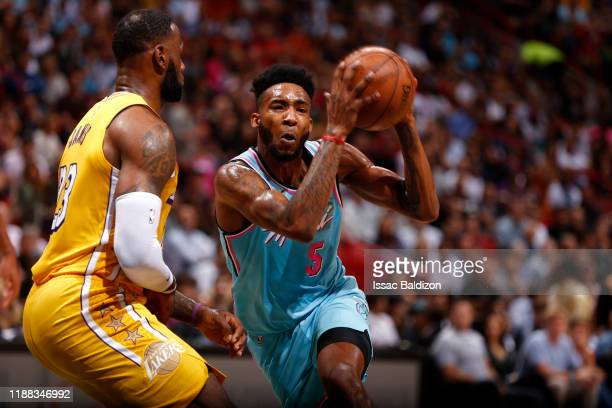 Derrick Jones Jr #5 of the Miami Heat handles the ball against the Los Angeles Lakers on December 13 2019 at American Airlines Arena in Miami Florida...