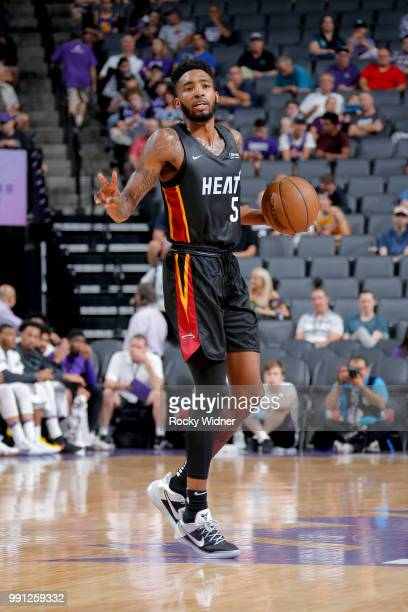 Derrick Jones Jr #5 of the Miami Heat handles the ball against the Los Angeles Lakers during the 2018 California Classic Summer League on July 3 2018...