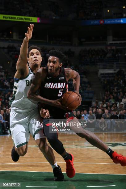 Derrick Jones Jr #5 of the Miami Heat handles the ball against the Milwaukee Bucks on January 17 2018 at the BMO Harris Bradley Center in Milwaukee...