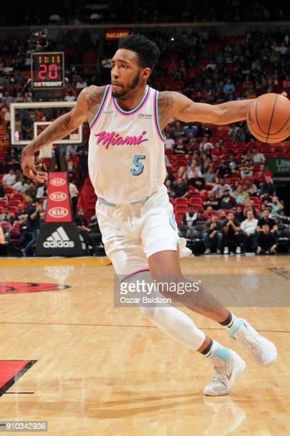 Derrick Jones Jr #5 of the Miami Heat handles the ball against the Sacramento Kings on January 25 2018 at American Airlines Arena in Miami Florida...