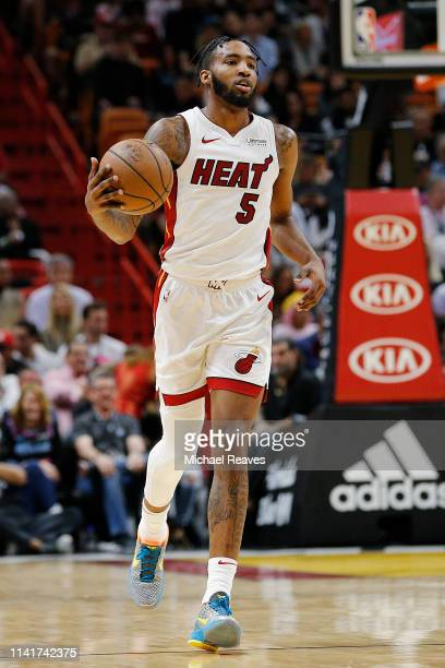 Derrick Jones Jr #5 of the Miami Heat in action against the Philadelphia 76ers during the second half at American Airlines Arena on April 09 2019 in...