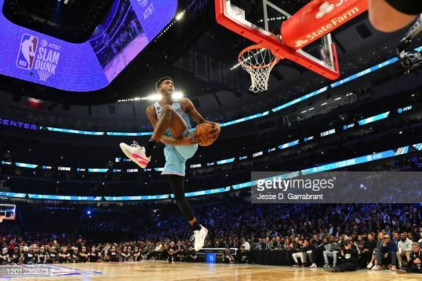 Derrick Jones Jr #5 of the Miami Heat participates in the 2020 NBA AllStar ATT Slam Dunk on February 15 2020 at the United Center in Chicago Illinois...