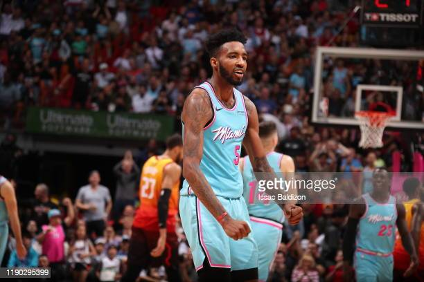 Derrick Jones Jr #5 of the Miami Heat reacts to a play during a game against the Utah Jazz on December 23 2019 at American Airlines Arena in Miami...