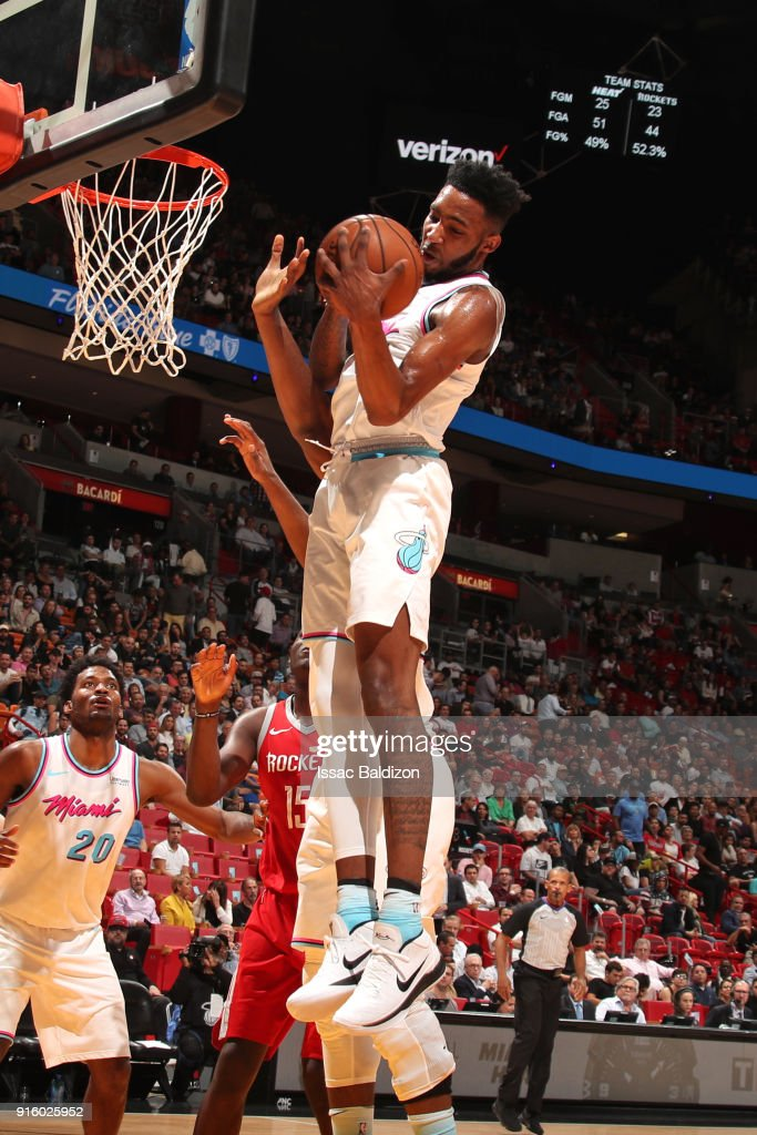 Derrick Jones Jr. #5 of the Miami Heat rebounds the ball during the game against the Houston Rockets on February 7, 2018 at American Airlines Arena in Miami, Florida.