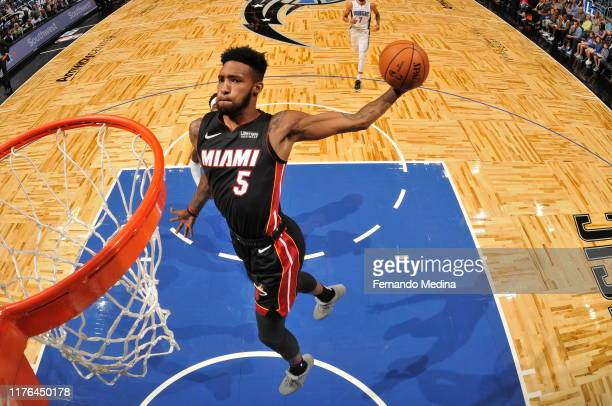 Derrick Jones Jr #5 of the Miami Heat shoots the ball against the Orlando Magic during a preseason game on October 17 2019 at Amway Center in Orlando...