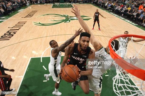 Derrick Jones Jr #5 of the Miami Heat shoots the ball against the Milwaukee Bucks on January 15 2019 at the Fiserv Forum Center in Milwaukee...