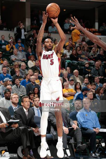 Derrick Jones Jr #5 of the Miami Heat shoots the ball during the game against the Indiana Pacers on January 10 2018 at Bankers Life Fieldhouse in...