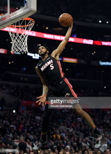 Derrick Jones Jr #5 of the Miami Heat slam dunks against the Los Angeles Clippers during the second half at Staples Center on February 5 2020 in Los...