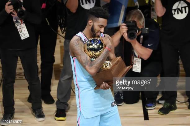 Derrick Jones Jr #5 of the Miami Heat wins the 2020 NBA AllStar ATT Slam Dunk on February 15 2020 at the United Center in Chicago Illinois NOTE TO...