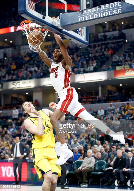 Derrick Jones Jr of the Miami Heat dunks the ball against the Indiana Pacers during the game at Bankers Life Fieldhouse on January 10 2018 in...